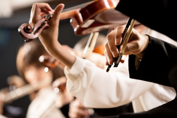 Elegant,Violin,Players,,Hands,Close-up,And,Orchestra,On,Background.