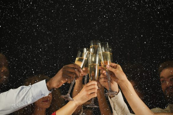 Christmas,Party,Time.,Young,People,Toasting,With,Champagne,Flutes.,Multiethnic
